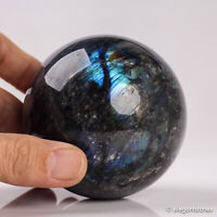 591g 74mm Large Natural Labradorite Quartz Crystal Sphere Healing Ball Chakra