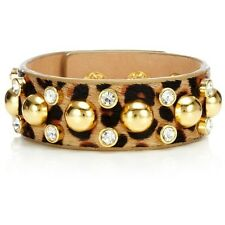 NWT JUICY COUTURE Crystal & Gold-Tone Studded Leather Thin Cuff Bracelet $48