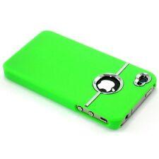 Verde Y Cromo plateado Funda Rígida Para Iphone 4/4s Con Protector De Pantalla Y Paño
