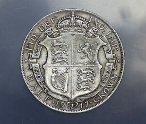 1917 George V Silver Half Crown nice grade
