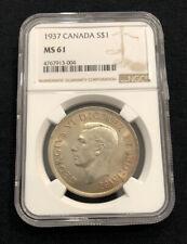 1937 $1 Canada Silver Dollar NGC MS61