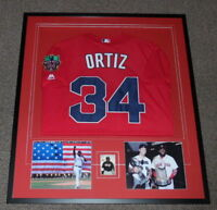 David Ortiz Signed Framed 32x36 Jersey & Photo Display JSA Red Sox