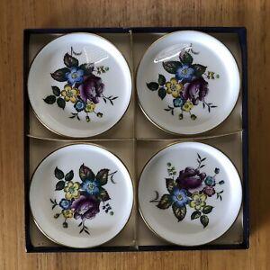 Vintage Royal Worcester Set 4 Handpainted Floral Porcelain Coasters - England