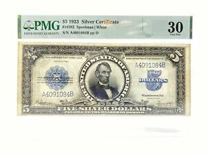 1923 $5 Porthole Silver Certificate PMG 30 Very Fine White FR #282
