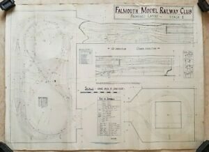 Vintage large Colour Falmouth Model Railway Club proposed layout - Stage 1