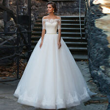 Half Sleeve Lace Scoop Neck Wedding Gowns Gorgeous Bridal Dresses A Line Organza