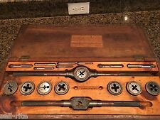 Bay State Antique Tap and & Die Tool Set Screw Plate 17 pc Wood Box Mansfield