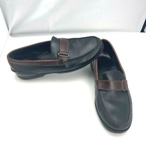 Sperry Top Sider Black Brown Slip On Leather Loafers Moccasin Shoes Mens Size 10