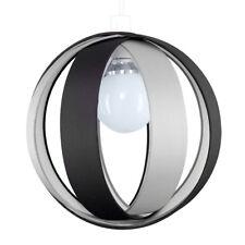 MiniSun - Modern Black and Grey Fabric Cocoon Globe Style Ceiling Pendant Light