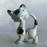 Vintage Japan Ceramic Cat Figurine Figure Siamese Atomic MCM Mid Century Modern