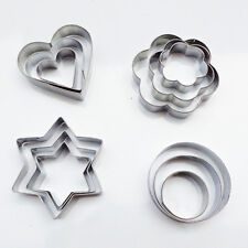 New12PCS Stainless Star/Heart/Flower Cookie Cutter Shape Cake Biscuit Fruit Mold