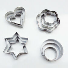 12PCS Star Heart Flower Round Shape Cookie Cutter Cake Biscuit Fruit Egg Mold