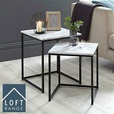 New Home Decor Modern Nest of Tables Set of 2 Marble Effect Metal Frame