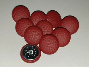 10 Upholstery buttons in Red Faux leather 20mm