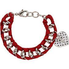 NWT Guess Silver Metal-Red Ribbon Woven Bracelet w/White Enamel Heart Charm