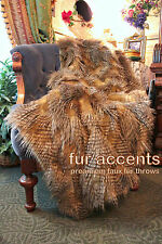 Premium Faux Fur Throw Blanket Exotic Brown Feather Fur w/ Minky Cuddle Fur Back