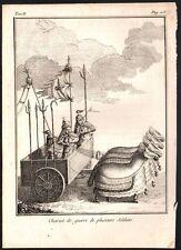Chine. Chariot de guerre de plusieurs soldats. Gravure sur acier. 1785
