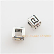 50Pcs Tibetan Silver Tone Tiny Square Spacer Beads Charms 4.5mm