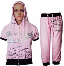 Womens Ladies New York 3/4 Hoodie Tracksuit Top Jog Jogging Bottoms S M L XL
