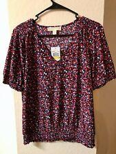 Womens Michael Kors Shirt Top Blouse floral design. Medium. Red blue white