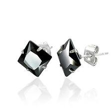Men's Stainless Steel 5mm Square Black CZ Stone Set Stud Earrings by Urban Male