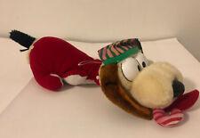"12"" VINTAGE 1983 GARFIELD ODIE CHRISTMAS PUPPY DOG CANE STUFFED ANIMAL PLUSH"