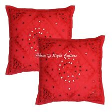 Indian Cotton Pillow Covers Red 16 Inch Embroidered Mirrored Cushion Covers