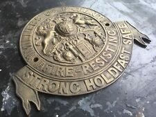 "⭐ ancienne vintage antique large ""Milners"" Genuine Brass Safe plaque ⭐"