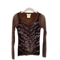 Fuzzi Womens XS Long Sleeve Printed Nylon Mesh Knit Top Brown Made In Italy