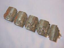 Story Panel Bracelet 60 Grams Vintage Sterling Silver Peru South America