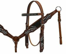 Western Horse Bling! Browband Bridle Headstall + Breast Collar Leather Tack Set