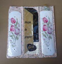 Plaques de propreté GILAC vintage déco salle de bain FLEURS TULIPE ROSE VIOLETTE