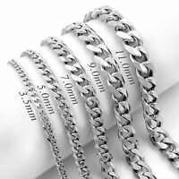 3.5/5/7/9/11mm Mens Chain Silver Tone Stainless Steel Curb Cuban Link Necklace