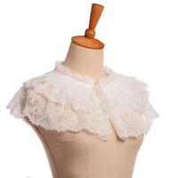 Retro Victorian Lace Detachable Collar White Womens Mini Cape Jabot Neckwear