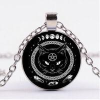 Black Cat Pentagram Cabochon Glass Tibetan Silver Round Pendant Chain Necklace