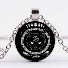 Round Black Cat Silver Pendant Pentagram Cabochon Glass Tibetan Chain Necklace U