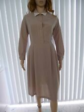Ladies Vintage 80s Taupe Shirt Dress Fit Size 10 by KEYNOTE