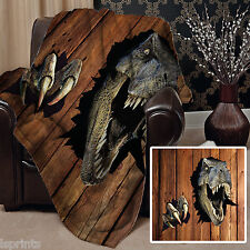 3D T-REX DESIGN SOFT FLEECE BLANKET COVER THROW DINOSAUR BED SOFA L&S PRINTS