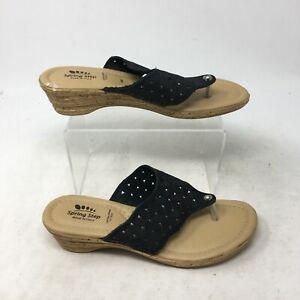 Spring Step Thong Low Wedge Sandals Laser Cut Flower Strap Cork Black Womens 38