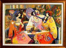 """""""GIRL TALK"""" by ISAAC MAIMON - LARGE, FRAMED ORIGINAL OIL ON CANVAS 44 x 56 MINT!"""