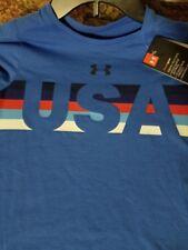 Girls Kids Youth Under Armour T-Shirt NEW Short Sleeve Blue USA Top Size XL