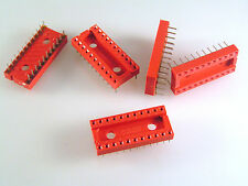 "Cambion 703-5322-01-04-12 DIL IC Socket 22 Pin 0.4"" Width Red 5 pieces OMA093b"