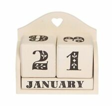 NEW Calender Blocks Cream 365 Days Hearts Ditsy Cute Squares Rustic Shabby Chic