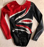 GK LgS LEOTARD CHILD MEDIUM BLACK RED MYSTIQUE FLAME CRYSTALS GYMNAST DANCE CM