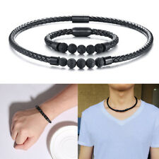 Men Volcano Lava Stone Leather Bracelet Necklace Choker Set Healing Magnet Clasp