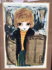 Roger Etienne Mixed Media Painting Of A Newspaper Boy