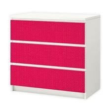 nikima - 009 Möbelfolie für IKEA MALM - Punkte rot weiß  - 3 Schubladen Aufklebe