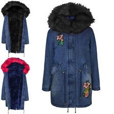 New Womens Ladies Parka Jacket Winter Faux Fur Denim Floral Pink Black Hood Coat