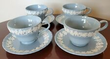 Wedgwood Queensware Footed TEA CUPS & SAUCERS X 4 Cream on Lavender ~ Shell Edge