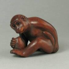 Japanese 1940's Netsuke Boxwood Handcrafted Monkey Holding Peach Carving WN392